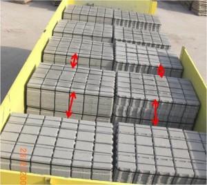 """Anordnung von Ladeeinheiten aus Betonpflastersteinen """"auf Lücke"""" in Fahrtrichtung"""