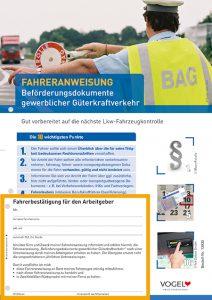 Fahreranweisung Beförderungsdokumente